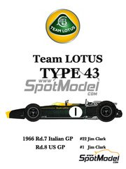 Model Factory Hiro: Model car kit 1/20 scale - Lotus Type 43 #1, 22 - Jim Clark (GB) - Italian Grand Prix, USA Grand Prix 1966