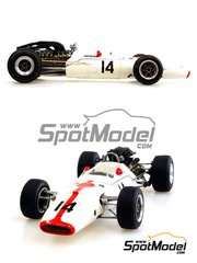 Model Factory Hiro: Model car kit 1/20 scale - Honda RA300 #9, 10, 11, 14 - John Surtees (GB) - Italian Grand Prix, USA Grand Prix 1967