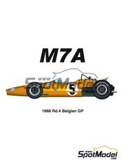 Model Factory Hiro: Model car kit 1/20 scale - McLaren M7A #5 - Belgian Grand Prix 1968