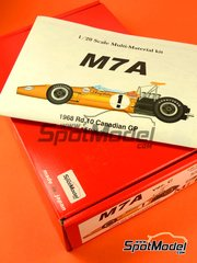 Model Factory Hiro: Model car kit 1/20 scale - McLaren M7A Shell #1, 2 - Bruce McLaren (NZ), Denis Clive 'Denny' Hulme (NZ) - Canadian Grand Prix 1968 - Multimaterial kit