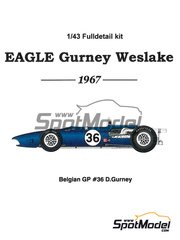 Model Factory Hiro: Model car kit 1/43 scale - Eagle Gurney Weslake T1G #36 - Dan Gurney (US) - Belgian Grand Prix 1967