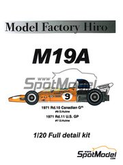 Model Factory Hiro: Model car kit 1/20 scale - McLaren M19A Gulf #9 - Denis Clive 'Denny' Hulme (NZ) - Canadian Grand Prix, USA Grand Prix 1971