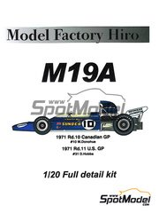 Model Factory Hiro: Model car kit 1/20 scale - McLaren M19A Sunoco #10 - Mark Donohue (US), David Hobbs (GB) - Canadian Grand Prix, USA Grand Prix 1971