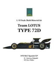 Model Factory Hiro: Model car kit 1/43 scale - Lotus Ford Type 72D John Player Special #5, 21 - Emerson Fittipaldi (BR), Dave Walker (AU) - Spanish Formula 1 Grand Prix 1972 - multimaterial kit image
