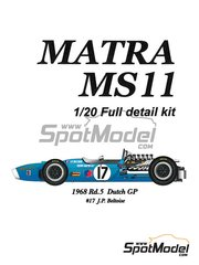 Model Factory Hiro: Model car kit 1/20 scale - Matra MS11 Elf #17 - Jean-Pierre Beltoise (FR) - Dutch Grand Prix 1968