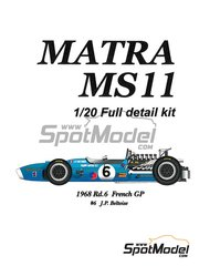 Model Factory Hiro: Model car kit 1/20 scale - Matra MS11 Elf #6 - Jean-Pierre Beltoise (FR) - French Grand Prix 1968