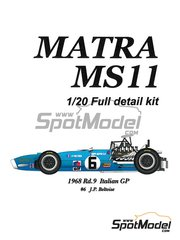 Model Factory Hiro: Model car kit 1/20 scale - Matra MS11 Elf #6 - Jean-Pierre Beltoise (FR) - Italian Grand Prix 1968