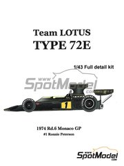 Model Factory Hiro: Model car kit 1/43 scale - Lotus 72E John Player Special #1 - Ronnie Peterson (SE) - Monaco Grand Prix 1974
