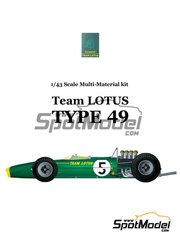 Model Factory Hiro: Model car kit 1/43 scale - Lotus Ford Type 49 #3, 4, 5, 18 - Jim Clark (GB), Graham Hill (GB), Moises Solana (MX) - German Grand Prix, Mexican Grand Prix 1967