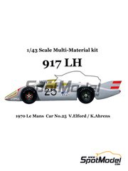 Model Factory Hiro: Model car kit 1/43 scale - Porsche 917 LH #25 - Vic Elford (GB) + Kurt Ahrens (DE) - 24 Hours Le Mans 1970 - Multimaterial kit