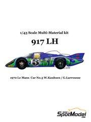 Model Factory Hiro: Maqueta de coche escala 1/43 - Porsche 917 LH Martini Nº 3 - Willi Kauhsen (DE) + Gérard Larrousse (FR) - 24 Horas de Le Mans 1970 - kit multimaterial