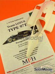 Model Factory Hiro: Model car kit 1/12 scale - Lotus Renault 97T John Player Special #11, 12 - Elio de Angelis (IT), Ayrton Senna (BR) - Portuguese Grand Prix 1985 - Multimaterial kit