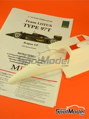 Model Factory Hiro: Model car kit 1/12 scale - Lotus Renault 97T John Player Special #11, 12 - Elio de Angelis (IT), Ayrton Senna (BR) - Belgian Grand Prix 1985 - multimaterial kit image