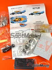 Model Factory Hiro: Model car kit 1/43 scale - Porsche 917 LH Gulf #17 - Joseph 'Jo' Siffert (CH) + Derek Bell (GB) - 24 Hours Le Mans 1971 - 3D printed parts, assembly instructions, photo-etched parts, resin parts, rubber parts, turned metal parts, vacuum formed parts, water slide decals and white metal parts
