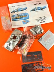 Model Factory Hiro: Model car kit 1/43 scale - Porsche 917 LH Gulf #18 - Pedro Rodriguez (MX) + Jackie Oliver (GB) - 24 Hours Le Mans 1971 - 3D printed parts, assembly instructions, metal parts, photo-etched parts, resin parts, rubber parts, turned metal parts, vacuum formed parts, water slide decals and white metal parts