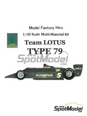 Model Factory Hiro: Model car kit 1/43 scale - Lotus Ford Type 79 Olympus #5 - Ronnie Peterson (SE) - Austrian Grand Prix, Dutch Grand Prix, Italian Grand Prix 1978 - Multimaterial kit