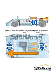 Model Factory Hiro: Model car kit 1/24 scale - Porsche 908/03 Gulf #40 - Pedro Rodriguez (MX) + Leo Kinnunen (FI) - Targa Florio 1970 - Multimaterial kit