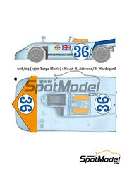 Model Factory Hiro: Model car kit 1/24 scale - Porsche 908/03 Gulf #36 - Richard Attwood (GB) + Björn Waldegård (SE) - Targa Florio 1970 - Multimaterial kit