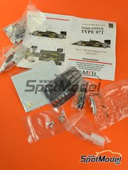 Model Factory Hiro: Model car kit 1/43 scale - Lotus Renault 97T John Player Special #11, 12 - Ayrton Senna (BR), Elio de Angelis (IT) - Portuguese Grand Prix 1985 - Multimaterial kit