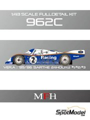 Model Factory Hiro: Model car kit 1/43 scale - Porsche 962C Rothmans #1, 2, 3 - 24 Hours Le Mans 1985 and 1986 - Multimaterial kit