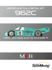 Model Factory Hiro: Model car kit 1/43 scale - Porsche 962C Leyton House #11 - 24 Hours Le Mans 1987 and 1988 - Multimaterial kit