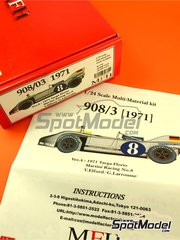 Model Factory Hiro: Model car kit 1/24 scale - Porsche 908/03 Martini Racing #8 - Vic Elford (GB) + Gérard Larrousse (FR) - Targa Florio 1971 - Multimaterial kit