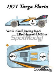Model Factory Hiro: Model car kit 1/24 scale - Porsche 908/03 Gulf #4 - Pedro Rodriguez (MX) + Herbert Müller (CH) - Targa Florio 1971 - Multimaterial kit