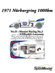 Model Factory Hiro: Model car kit 1/24 scale - Porsche 908/03 Martini Racing #3 - Vic Elford (GB) + Gérard Larrousse (FR) - 1000 Kms Nürburgring 1971 - Multimaterial kit