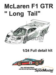 Model Factory Hiro: Model car kit 1/24 scale - McLaren F1 GTR  Long Tail Gulf Davidoff #39, 40, 41 - 24 Hours Le Mans 1997 - Multimaterial kit