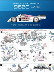 Model Factory Hiro: Model car kit 1/43 scale - Porsche 962C Blaupunkt #9 - 24 Hours Le Mans 1989 - Multimaterial kit