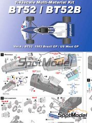 Model Factory Hiro: Model car kit 1/43 scale - Brabham BT52 Parmalat #5 - Brazilian Grand Prix, USA West Long Beach Grand Prix 1983 - Multimaterial kit