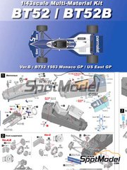 Model Factory Hiro: Model car kit 1/43 scale - Brabham BT52 Parmalat #5 - Belgian Grand Prix, Monaco Formula 1 Grand Prix 1983 - Multimaterial kit