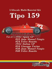 Model Factory Hiro: Model car kit 1/43 scale - Alfa Romeo Tipo 159 #22, 24, 34, 38, 40 - Juan Manuel Fangio (AR), Felice Bonetto (IT), Giuseppe Farina (IT) - Spanish Grand Prix 1951 - Multimaterial kit