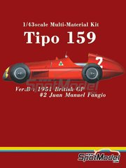 Model Factory Hiro: Model car kit 1/43 scale - Alfa Romeo Tipo 159 #2 - Juan Manuel Fangio (AR) - British Grand Prix 1951 - Multimaterial kit