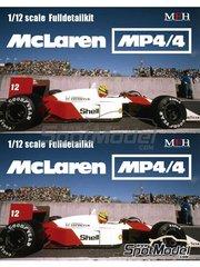 Model Factory Hiro: Model car kit 1/12 scale - McLaren Honda MP4/4 Marlboro #11, 12 - Ayrton Senna (BR), Alain Prost (FR) - Monaco Grand Prix 1988 - Multimaterial kit