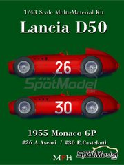 Model Factory Hiro: Model car kit 1/43 scale - Lancia D50 #26, 30 - Eugenio Castelotti (IT), Alberto Ascari (IT) - Monaco Grand Prix 1955 - Multimaterial kit