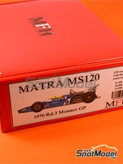 Model Factory Hiro: Model car kit 1/20 scale - Matra MS120 ELF #9, 25 - Henri Pescarolo (FR), Jean-Pierre Beltoise (FR) - Monaco Grand Prix 1970 - multimaterial kit