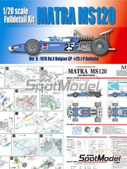 Model Factory Hiro: Model car kit 1/20 scale - Matra MS120 ELF #25 - Jean-Pierre Beltoise (FR) - Belgian Grand Prix 1970 - Multimaterial kit image