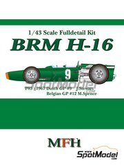Model Factory Hiro: Model car kit 1/43 scale - BRM H-16 #9, 14 - Sir John Young 'Jackie' Stewart (GB) - Belgian Grand Prix, Dutch Grand Prix 1967 - Multimaterial kit