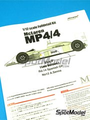 Model Factory Hiro: Model car kit 1/12 scale - McLaren Honda MP4/4 Marlboro #11, 12 - Ayrton Senna (BR), Alain Prost (FR) - Spanish Formula 1 Grand Prix 1988 - Multimaterial kit image
