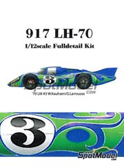 Model Factory Hiro: Model car kit 1/12 scale - Porsche 917LH Psychedelic Martini Racing #3 - Gérard Larrousse (FR) + Willi Kauhsen (DE) - 24 Hours Le Mans 1970 - Multimaterial kit