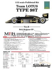 Model Factory Hiro: Model car kit 1/12 scale - Lotus Renault 98T John Player Special #11, 12 - Belgian Formula 1 Grand Prix 1986 - multimaterial kit image