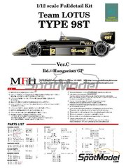 Model Factory Hiro: Model car kit 1/12 scale - Lotus Renault 98T John Player Special #11, 12 - Hungary Grand Prix 1986 - Multimaterial kit image