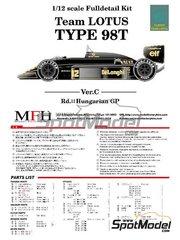 Model Factory Hiro: Model car kit 1/12 scale - Lotus Renault 98T John Player Special #11, 12 - Hungary Grand Prix 1986 - Multimaterial kit
