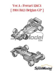 Model Factory Hiro: Model car kit 1/43 scale - Ferrari 126C4 Agip Fiat #27, 28 - Michele Alboreto (IT), Rene Arnoux (FR) - Belgian Formula 1 Grand Prix 1984 - photo-etched parts, rubber parts, water slide decals, white metal parts, assembly instructions, placement instructions and painting instructions image