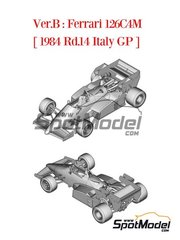 Model Factory Hiro: Model car kit 1/43 scale - Ferrari 126C4M Fiat Agip #27, 28 - Michele Alboreto (IT), Rene Arnoux (FR) - Italian Formula 1 Grand Prix 1984 - metal parts, photo-etched parts, rubber parts, turned metal parts, vacuum formed parts, white metal parts and assembly instructions