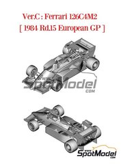Model Factory Hiro: Model car kit 1/43 scale - Ferrari 126C4M2 Fiat Agip #27, 28 - Michele Alboreto (IT), Rene Arnoux (FR) - European Grand Prix 1984 - photo-etched parts, rubber parts, white metal parts and assembly instructions