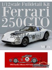 Model Factory Hiro: Model car kit 1/12 scale - Ferrari 250 GTO chassis 4399GT Maranello Concessionaires #25 - Innes Ireland (GB) + Tony Maggs (ZA) - 24 Hours Le Mans 1964 - Multimaterial kit