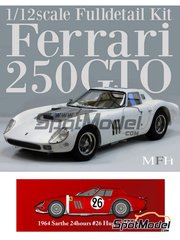 Car kit 1/12 by Model Factory Hiro - Ferrari 250 GTO chassis 4399GT North American Racing Team # 26 - Ed Hugus + Jose Rosinski - 24 Hours Le Mans 1964 - Multimaterial kit image
