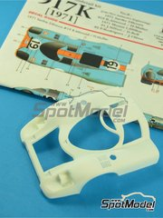Model Factory Hiro: Model car kit 1/24 scale - Porsche 917K Gulf #1, 2, 19 - Richard Attwood (GB) + Herbert Müller (CH), Joseph 'Jo' Siffert (CH) + Derek Bell (GB), Pedro Rodriguez (MX) + Jackie Oliver (GB) - 1000 Kms Monza, 24 Hours Le Mans 1971 - Multimaterial kit image